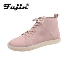 Fujin Frauen Stiefel Winter Plüsch Warme Pelz Mode wildleder leder weiche Knöchel Gummi Atmungsaktive Flache Booties Kausalen Frauen Schnee Stiefel(China)