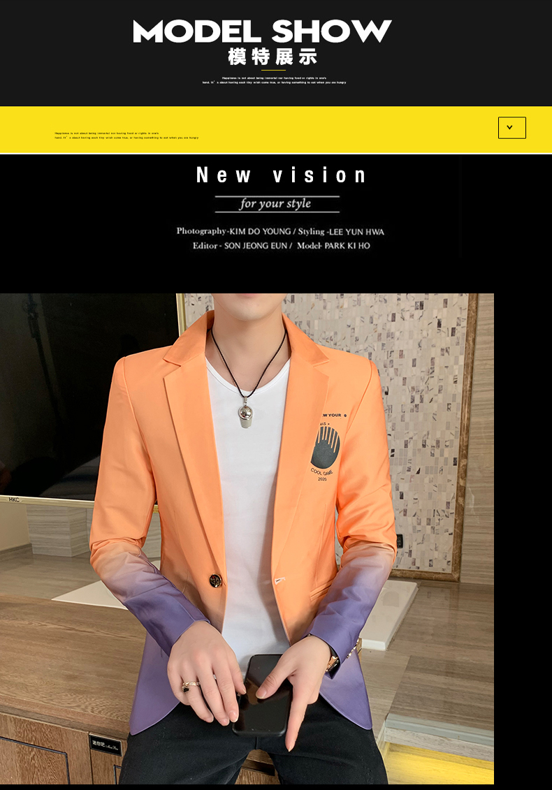 H44cb195cebfe4206a04344e3db1c210dA - Male Gradient Blazer Masculino 2020 Spring Autumn Korean Style Blazer For Men Suit Jacket Casual Wedding Business Clothing