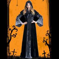 Halloween Female Death Dress Terror Skull Role Playing Suit Cloak Stage Costume for Women TC21