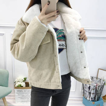 2020 New Winter Warm Fur Jeans Jacket Women Bomber Jacket soft Corduroy Denim Jacket Female