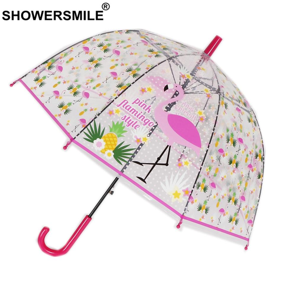 Pink Flamingos Semi-Automatic Foldable Umbrella