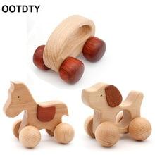 Baby Horse Dog Car Shape Ecofriendly Wood Car DIY Craft Infant Cartoon Animal Puzzle Toy
