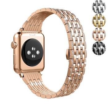 Honorable Diamond strap for Apple watch 5/4/3/2/1 apple watch band 40mm 38mm 42mm 44mm iwatch band stainless steel bracelet luxury watch strap for apple watch 5 4 3 2 1 band 40mm 38mm 44mm 42mm iwatch band diamond stainless steel link bracelet