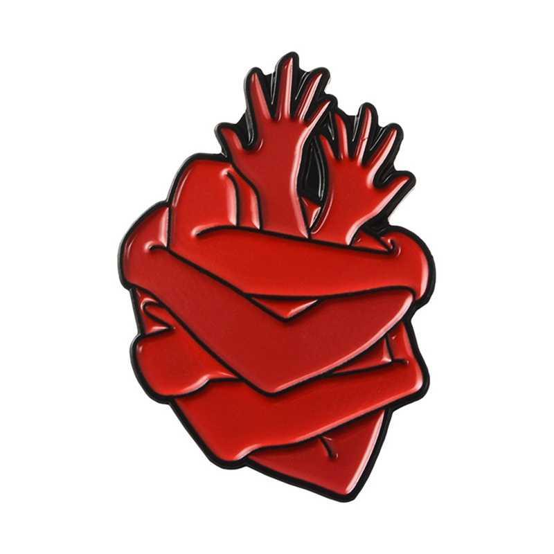 Kepribadian Merah Banyak Tangan Merangkul Memeluk Diri Bentuk Bentuk Hati Enamel Bros Koboi Kulit Kreatif Kartun Lencana