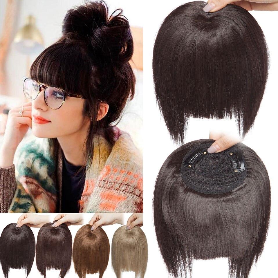 SNOILITE Clip In Fringe Hair Extension Fake Hair Bangs Synthetic Brown Blunt Hair Bangs Clip On Bangs Hairpiece Hair For Women