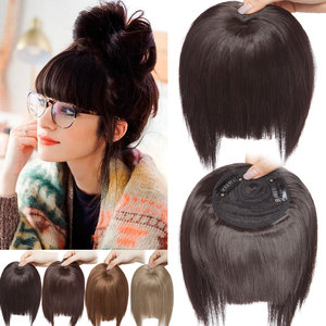 SNOILITE clip in fringe hair extension fake hair bangs synthetic brown blunt hair bangs clip on bangs hairpiece hair for women