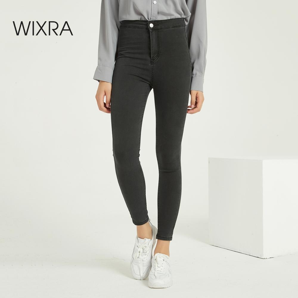 Wixra Women's Skinny Pencil Denim Jeans High Waist Pockets Soft Stretch Thin Pants Trousers Spring Autumn Ladies Clothing