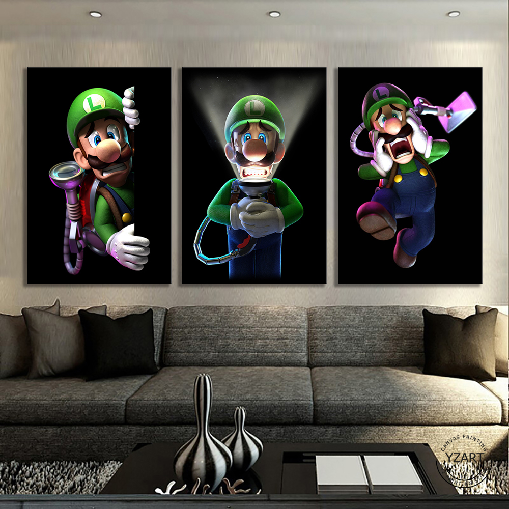 3 Panels Mario Bros Luigis Cartoon Pictures Wall Paintings Bedroom Decor Luigis Mansion 3 Video Games Art Wall Decor Painting 1