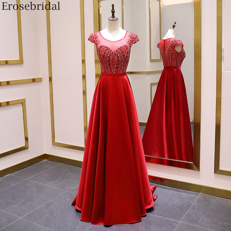Erosebridal Red A Line Evening Dress Long Scoop Neck Elegant Short Sleeve Prom Dress 2020 Satin Formal Evening Gown Luxury Beads