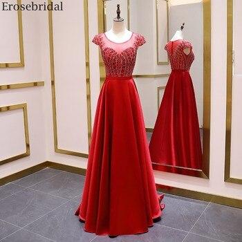 Erosebridal Red A Line Evening Dress Long Scoop Neck Elegant Short Sleeve Prom 2020 Satin Formal Gown Luxury Beads