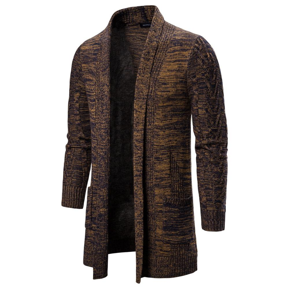 Winter Thick Men's Knitted Sweater Coat  Long Sleeve Cardigan  Male Causal Sweaters