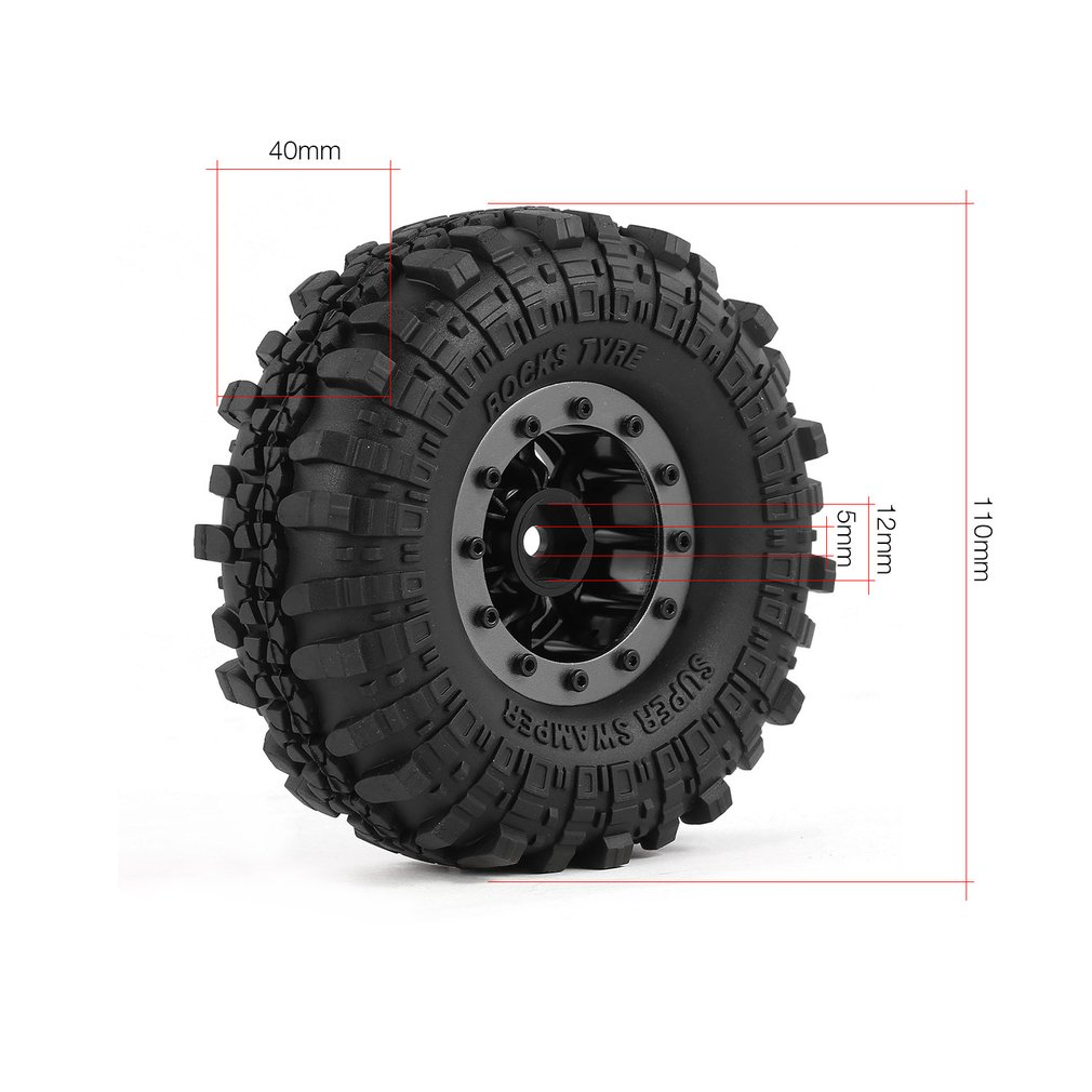 Hot RC Parts 4pcs 110mm 1 9in Rubber Tire with Alloy Beadlock Wheel Rim for AXIAL SCX10 90046 4WD D90 1 10 RC Rock Crawler Car in Parts Accessories from Toys Hobbies