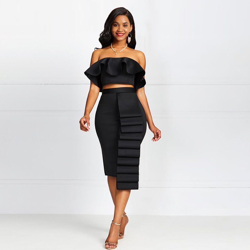 Black Sleeveless Two Piece Sets 2019 Summer Party Plus Size 2XL Asymmetric Strapless Ruffle Sexy Ladies Skirt Bodycon Dress