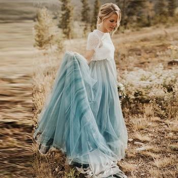 Vintage Custom Made Dusty Blue Classic Long Skirt femme jupes 2020 Ruffles Bohemia Big Dream Skirts Cheap женские юбки skirt figl юбки в стиле колокол