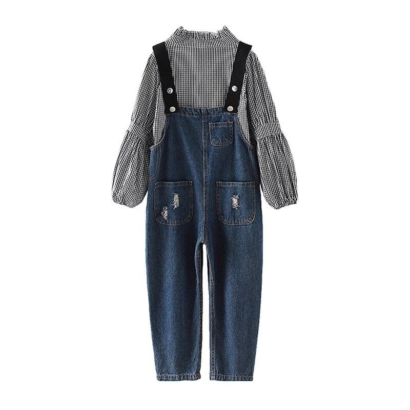Filles Boutique tenues enfants vêtements printemps automne filles vêtements ensembles à manches longues Plaid T-shirts + Cowboy sangles pantalons costumes - 6