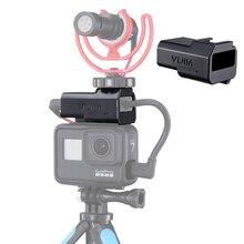 Vlog microfone adaptador de montagem para gopro hero preto 9 8 max 7 6 5 sapato frio estender montagem para gopro bateria original adaptador mic