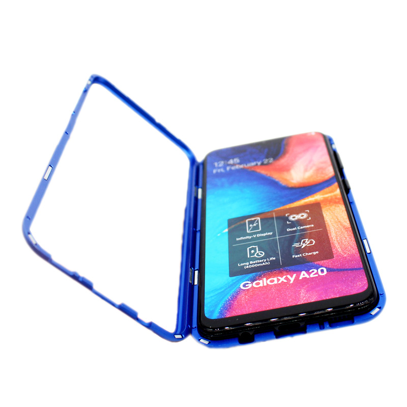 Double-sided <font><b>glass</b></font> Magnet King For <font><b>Samsung</b></font> A20 phone <font><b>cases</b></font> Metal rugged <font><b>case</b></font> for <font><b>Samsung</b></font> A30 <font><b>A50</b></font> phone <font><b>case</b></font> image