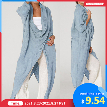 Celmia Oversized Women Tops and Blouse 2021 Autumn Vintage Long Blouses Casual Cowl Neck Long Sleeve Asymmetric Party Blusas