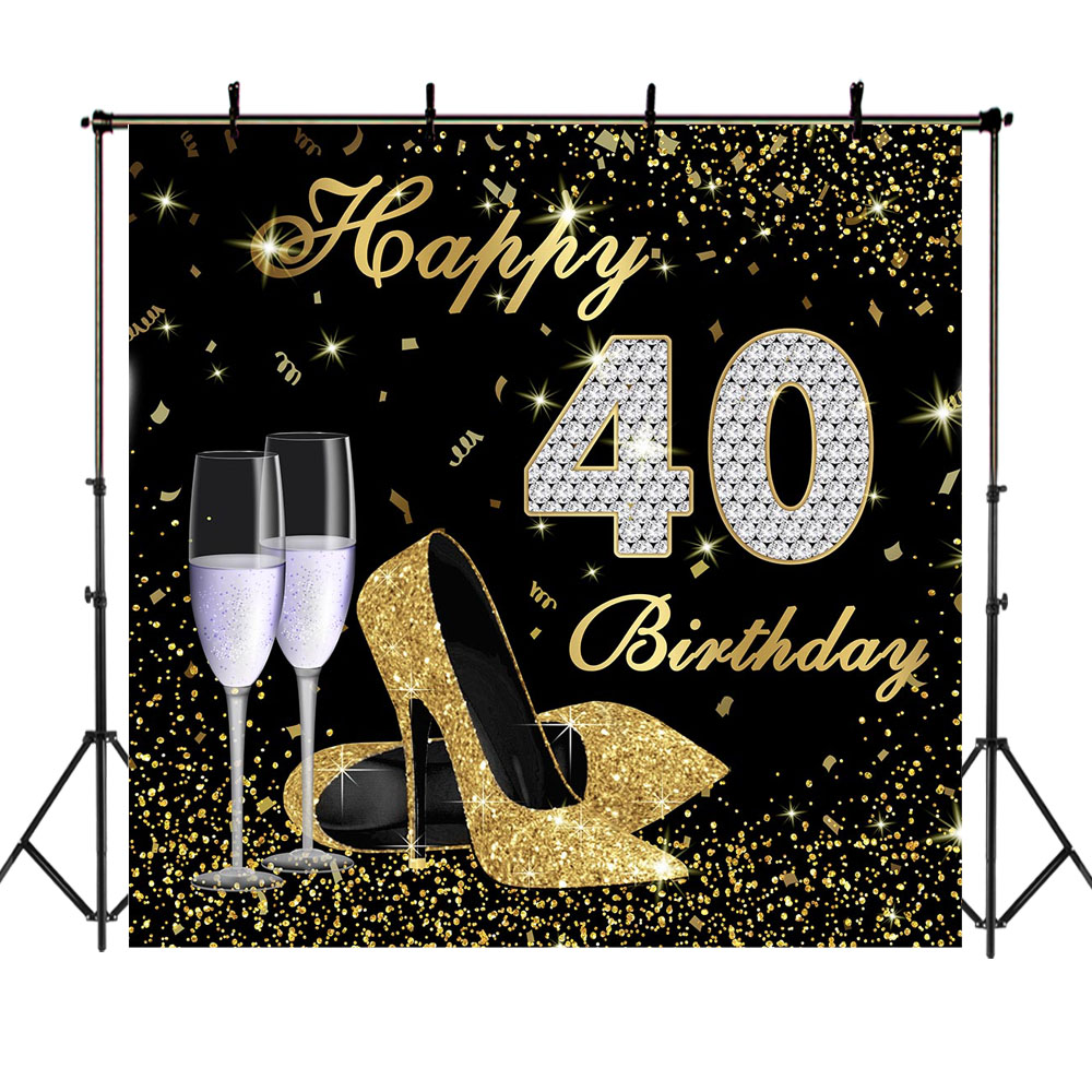 Happy <font><b>40th</b></font> <font><b>Birthday</b></font> <font><b>Backdrop</b></font> High Heels Elegant Lady Photography Background Platinum Diamond Gold Glitter Sparkly <font><b>Backdrops</b></font> image
