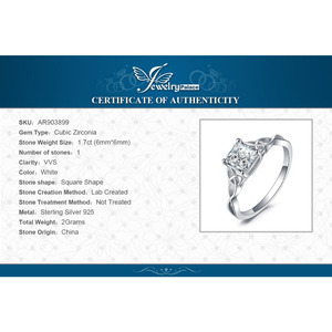 Image 5 - JPalace Celtic Knot Princess CZ Engagement Ring 925 Sterling Silver Rings for Women Anniversary Wedding Rings Silver 925 Jewelry