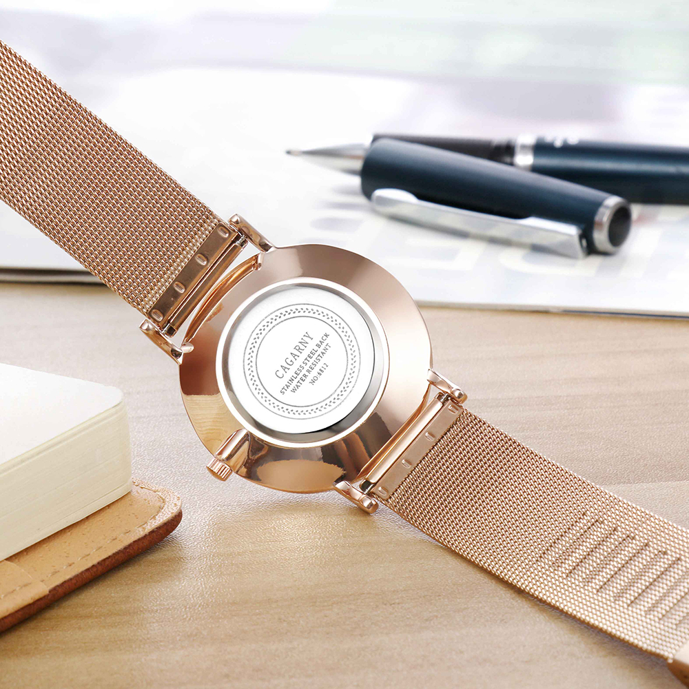drop shipping rose gold ultra thin case watches womens wristwatches quartz watch for men imitate marble pattern dial rose gold stainless steel elogio feminino montre femme free ship (50)