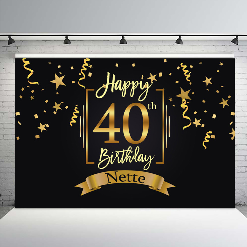 MEHOFOTO Happy <font><b>40th</b></font> <font><b>Birthday</b></font> Party <font><b>Backdrop</b></font> Black Gold Little Stars Ribbons Photography Backgrounds Customized 7x5FT Vinyl image