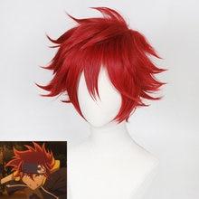 Парик для косплея Reki из аниме SK8 the Infinity, мужской короткий кудрявый головной убор с красными волосами, реквизит для Хэллоуина, карнавала Вече...