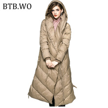 BTB.WO Women Winter Collection of Jacket 2019 Stylish Windproof Female Long hooded down jacket Womens Long sleeve warm Coat Tops