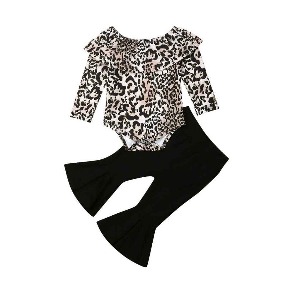 Otoño Invierno ropa niño niños bebé niña ropa leopardo mameluco Tops pantalones largos conjunto de ropa 2 piezas