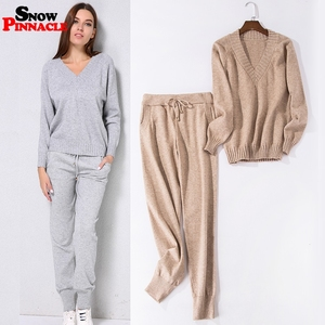 Image 2 - Women track suits sets Autumn Winter V neck pullovers + long pants sets Soft warm knitted sweater track suits