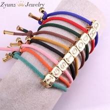 10PCS, 26 English alphabet A Z Lucky Rope Cord CZ Metal Letters String Bracelets