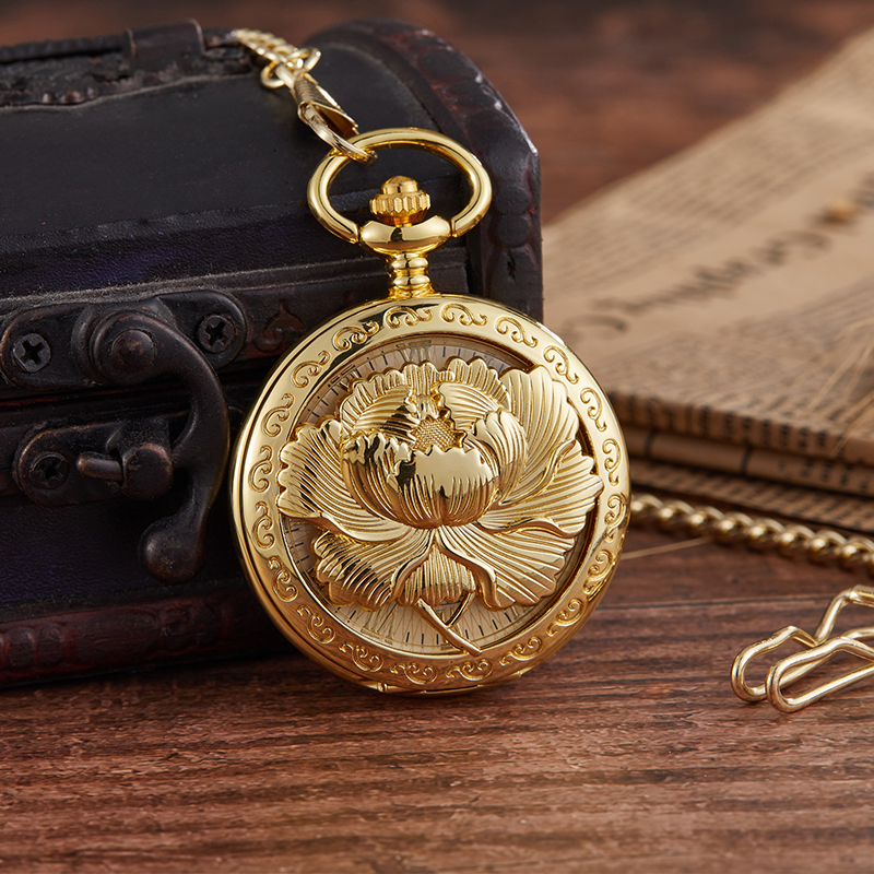 Top Fashion Vintage Personalized Lotus Mechanical Pocket Watch Men Woman Hand Wind Vintage Pocket & Fob Watch Luxury Male Clock