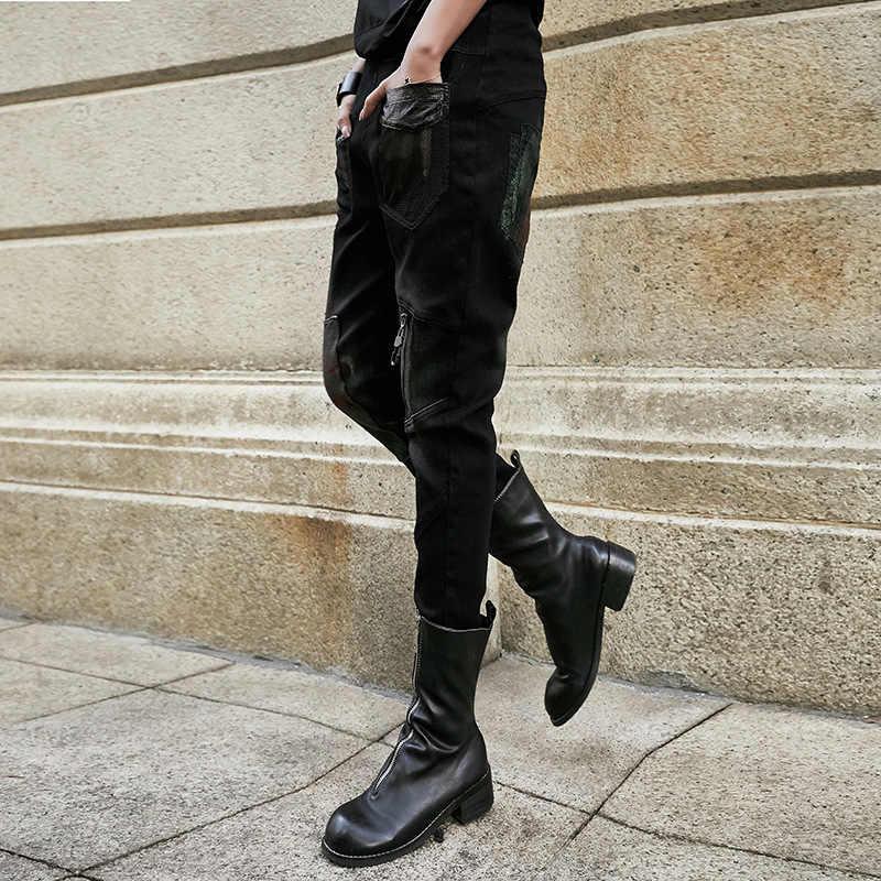 2019 moda Primavera otoño Jeans Mujer calle estilo malla bolsillo negro Denim Pantalones mujer cintura elástica Casual Harem pantalones G578