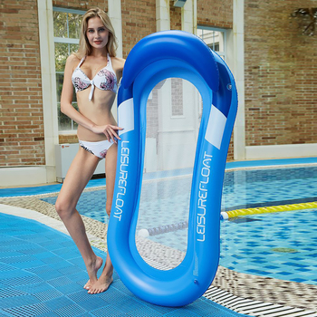 Inflatable Hammock Floatings Row Swimming Bed Foldable Portable Inflatable Back Sunshade Swimming Pool Middle Mesh Water Chair 6