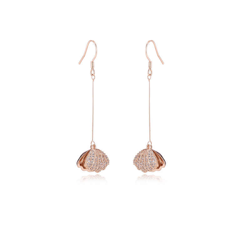 Ataullah Shell Perle Ohrringe Sterling Silber 925 Schmuck Zirkonia Baumeln Hängen Lange Tropfen Ohrringe für Frauen Geschenk EW039