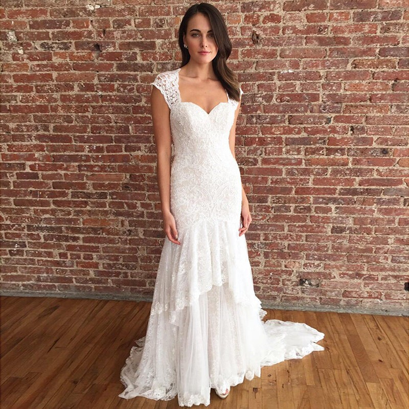 Mermaid Bride Dress Square Neck Long Beach Wedding Dress With Lace For Wedding