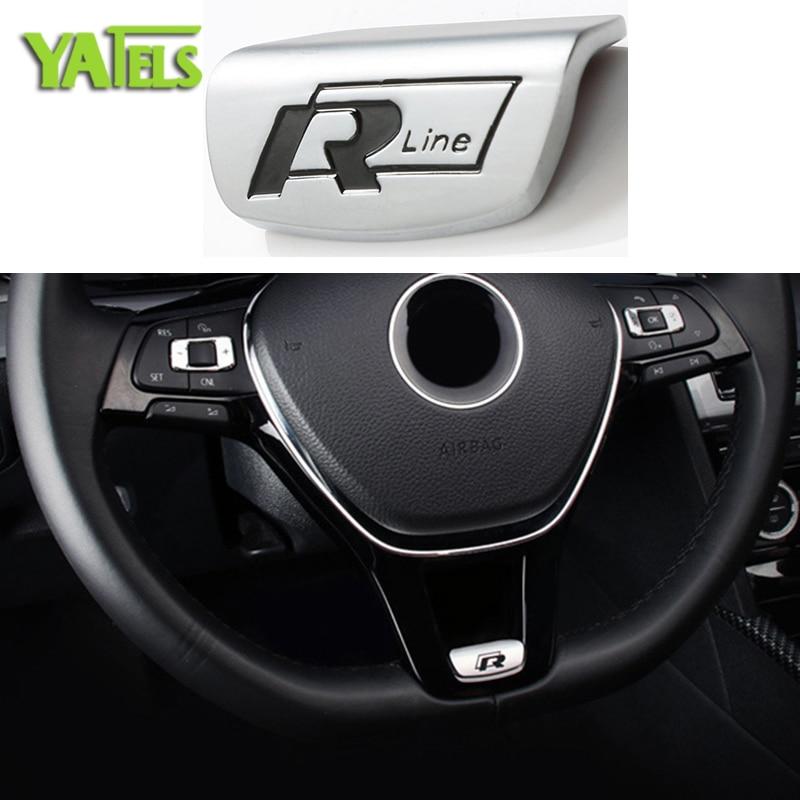 Automobiles Steering Decorative Vinyl Decals 3D R Line Emblem Rline Badge R R-Line Logo Car Stickers Auto Interior Accessories