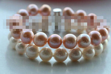 +++ 345 Double Genuine Natural White Purple Round Pearl Bracelet(China)