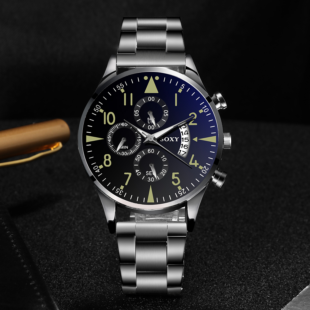 H44cca638b5c0433d994eeb13c0b63ee60 Quartz Wristwatch Luminous SOXY Men's Watches Classic Calendar Mens Business Steel Watch relogio masculino Popular saati hours