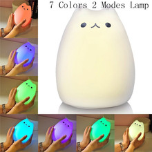 7 colors cute cat lamp colorful light silicone cat night lights children usb led night lamp bedroom rechargeable touch sensor Silicone 3D LED Night Light cute Cat Animal Table Lamp Touch Sensor Night Lampe 7 Colors 2 Modes USB rechargeable for baby Gifts