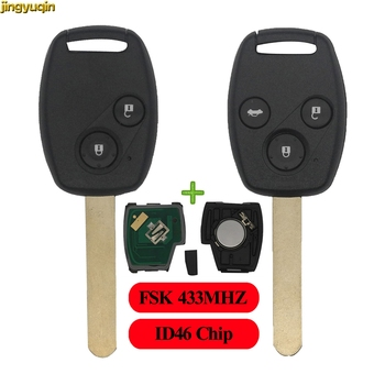 Jingyuqin 2/3 BTN FSK 433MHZ ID46 Chip Remote Auto Key Fob Shell Für Honda CR-V CRV Civic Insight Ridgeline accord 2003 2008 2009