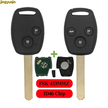 цена на jingyuqin 2/3 BTN FSK 433MHZ ID46 Chip Remote Car Key Fob Shell For Honda CR-V CRV Civic Insight Ridgeline Accord 2003 2008 2009