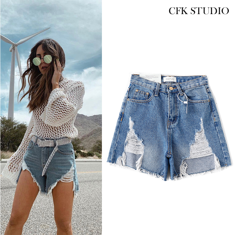 2020 New Za Women Sexy Jeans With High Waist Pocket Solid Blue Shorts Femme Casual Personality High Street Blue Denim Shorts