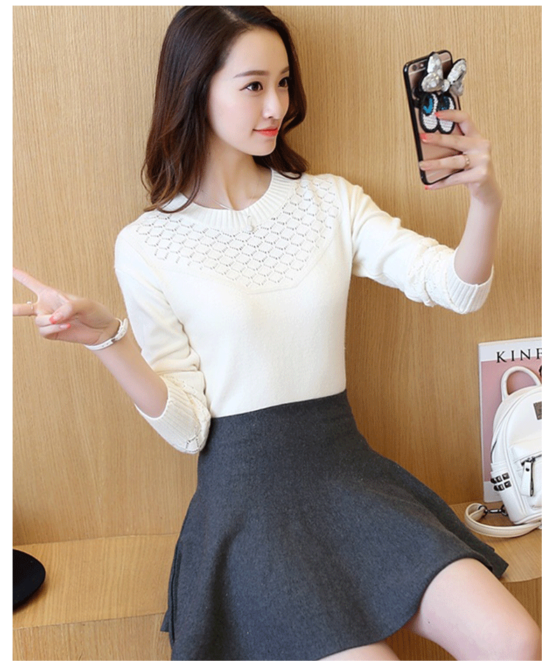 Women Candy Colors Sweaters Fashion Autumn Gray  Warm Mohair O-Neck Pullover Long Sleeve