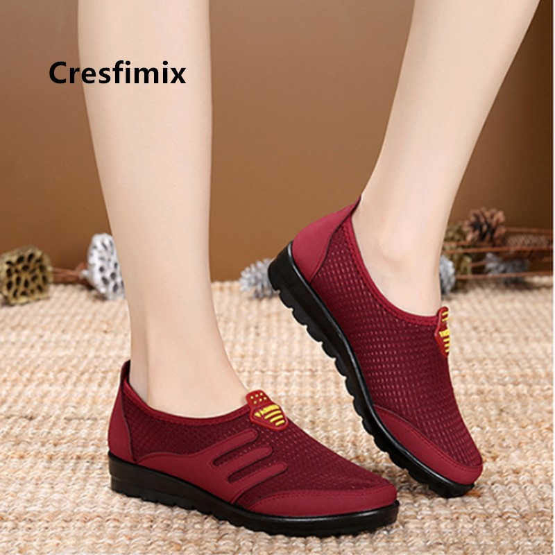 Cresfimix Mocasines Mujer Light Weight Red Slip On Shoes For Mom Ladies Classic Anti Skid Brown Loafers Women Fashion Flat C5781