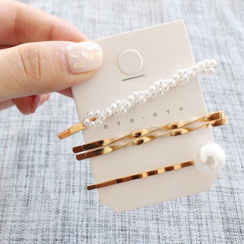 Hot Fashion 1 Set Elegant Pearl Trendy Metal Hair Clips For Women Girls Hair Accessories Geometric Hollow Hairpins Barrettes Fashion Accessories