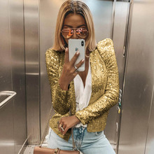 Fashion Women Business Suit Sequined Blazer Jacket Coat Autu