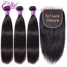 Celie 7x7 demetleri ile dantel kapatma düz insan saçı kapatma ile 3 demetleri Remy brezilyalı saç örgü demetleri ile kapatma
