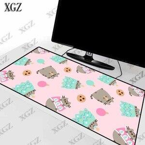 Xgz gato fofo em rosa de fundo, jogos, mouse pad, borda, bloqueio, para computador portátil, teclado, mesa