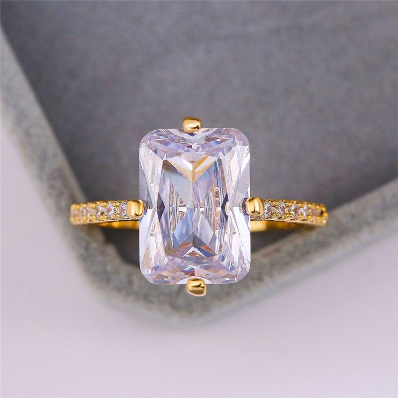 Женское кольцо с квадратным кристаллом, изящное круглое Золотое кольцо с большим цирконием, роскошное обручальное кольцо для свадьбы
